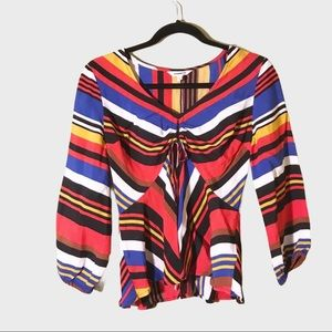 Express long sleeves stripes pattern top